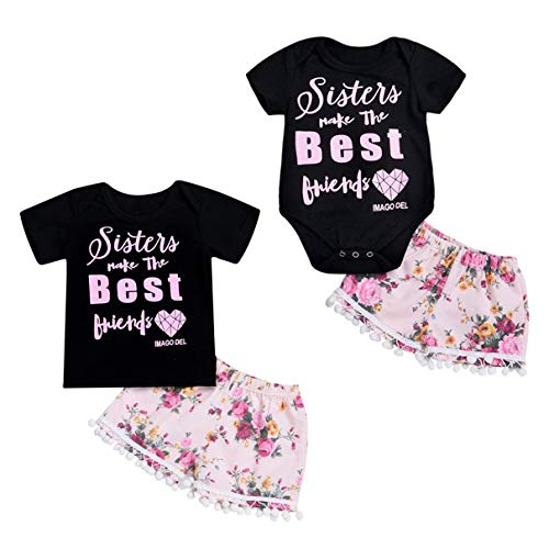 Nest Home Matching Sister Clothes Set Summer Baby Girl Sister Best Friends Printed Shirt Romper Top and Foral Printed Shorts Pants Outfit