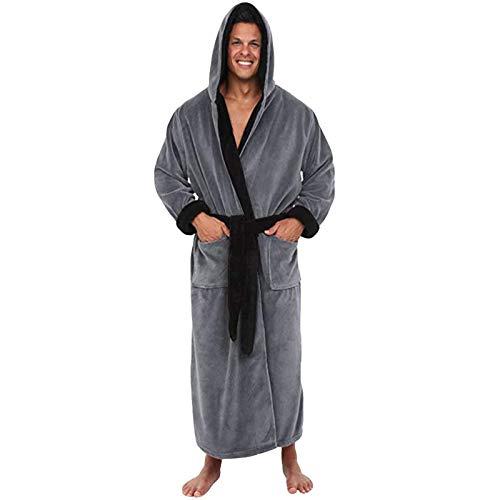 Dasongff Albornoz para hombre de franela de forro polar Coral, bata con capucha, ropa de noche mullida, kimono, bata larga, regalo