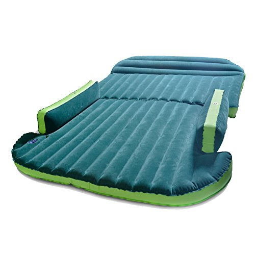 Zoiibuy SUV Air Mattress Double Bed Portable Thicker Car Bed for Outdoor Self-driving Travel, Including Electric Air Pump-Green