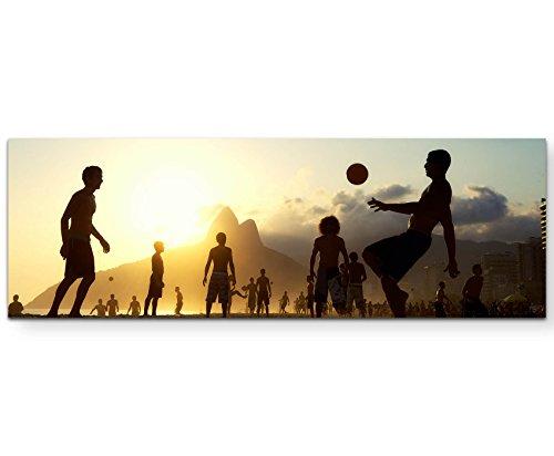 Eau Zone Wandbild auf Leinwand 120x40cm Fußball im Sonnenuntergang