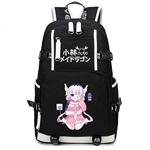 Gumstyle Kobayashi-san Chi no Maid Dragon Anime School Bag Backpack Shoulder Laptop Bags for Boys Girls Students Black 2