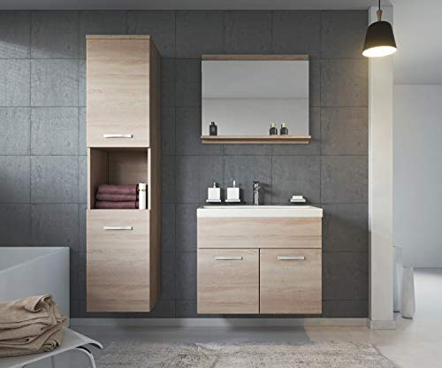 Badmöbel Set Montreal 60 cm Sonoma Eiche – Unterschrank Hochschrank Waschtisch kaufen  Bild 1*