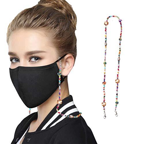 LijunMimo Metall Lanyard Umhängeband für Mundschutz mit Kleinen Clip, Clip Bib Kette Flexible Lanyard mit Farbigen Kügelchen für Arzt, Erwachsene, Kinder (B, 1)