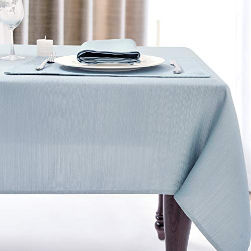 Luxury Stripe Fabric Table Cloths, Heavy Weight Classic 100% Polyester Tablecloths, No Iron, Water Resistance Soil Resistant Holiday Table Cover for Dining Room,60 Inch x 120 Inch Oblong,Light Blue