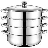 PIXNOR Utensilios de Cocina Al Vapor Olla de Vapor de 4 Capas Olla de Vapor de Acero Inoxidable para Cocina Casera