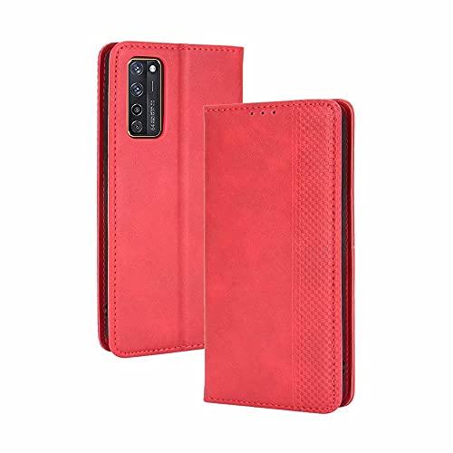 LINER Hülle für ZTE Axon 20 5G/4G, Premium Retro Lederhülle PU Flip Handyhülle Brieftasche Klapphülle Stoßfest Schutzhülle mit Kartenfach/Standfunktion/Magnetverschluss - Rot