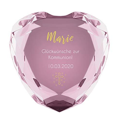 Herz Diamant zur Kommunion (rosa) mit Name und Datum - personalisiertes Konfirmationsgeschenk, Kommunionsgeschenk, Geschenk für Mädchen + Jungs