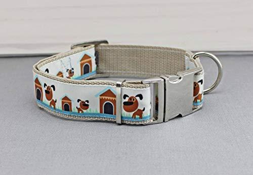 Hundehalsband mit Hunden, comic, blau und braun, Gurtband in beige, Hundehütte, niedlich, edel, Halsband, Hund, Haustier