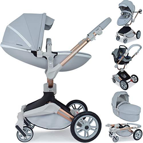 Daliya ® 3in1 360° Turniyo Kinderwagen Kombikinderwagen Buggy mit Babywanne, Sportsitz & Cariyo Babyschale, Aluminium Rahmen (3in1, Grau)