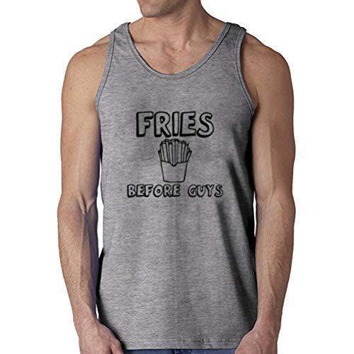 commercial ANNE-QUEEN French fries men's funny T-shirt in front of boys (gray, L) top foodie magazines