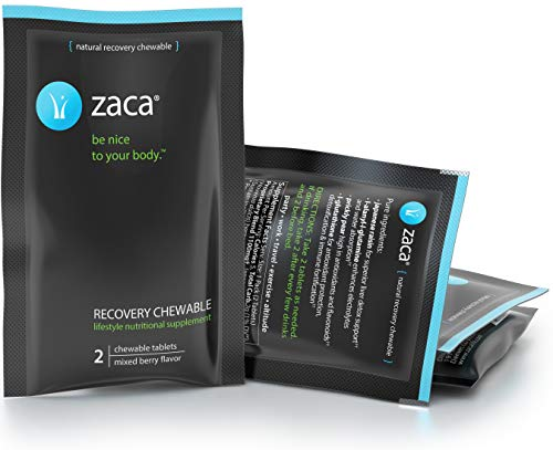 Zaca Recovery Chewable Supplement | Remedy for Hangovers, Exercise, Travel & Altitude | Vegan & Gluten Free | Mixed Berry, 6 Packs = 12 Tablets