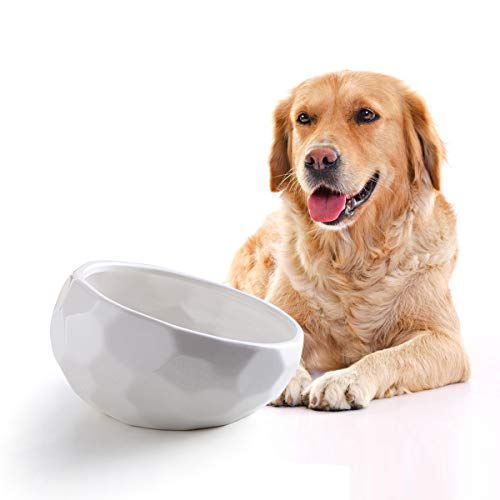 Jemirry Ceramic Dog Bowls, 7 Inch Bulldog Bowl Pet Dog Dish for Wet Food Dry Food Water Bowl, White
