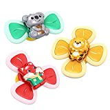 qioase Suction Cup Spinning Top Toy,3PCS Suction Cup Baby Toys ,Baby Bath Toys