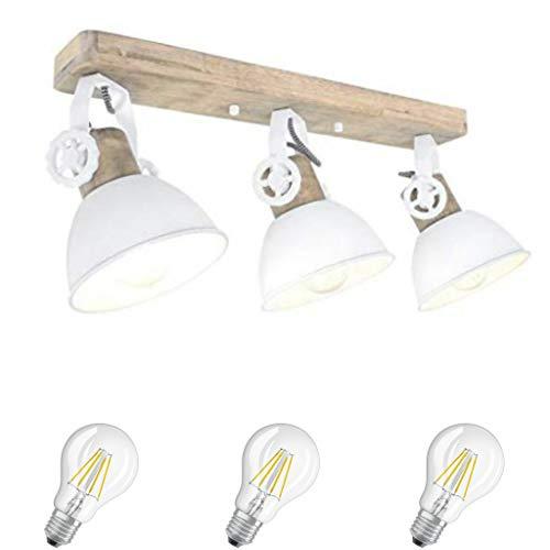 STEINHAUER 2133W Strahler Wohnzimmer Küche Schlafzimmer Deckenlampe Holz Metall Vintage Industrie Lampe Wandleuchte 3fl inkl. 7 Watt Filament Edison Vintage Led Lampe Holz Metall (2133W incl. LED)