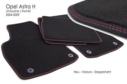 KH piezas felpudos/Velours Alfombrillas de coche original Calidad Plástico Alfombras 4Piezas costura doble rojo