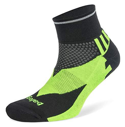 Balega Enduro Reflektierende V-Tech Quarter Socken für Damen & Herren (1 Paar), Unisex-Erwachsene Herren, Socken, Enduro Reflective V-Tech Quarter, Schwarz/Neongrün, Large