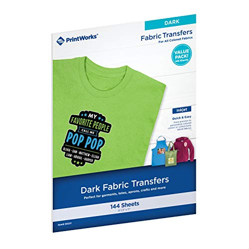 Printworks Dark Fabric Transfers, for All Colored Fabrics, Value Packs, 12...