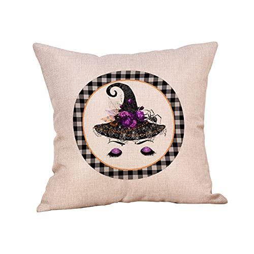 JeffMVP Fundas de almohada de Halloween para decoración de Halloween con texto en inglés 'Happy Halloween Trick or Treat Funda de almohada vintage para decoración de interiores y exteriores