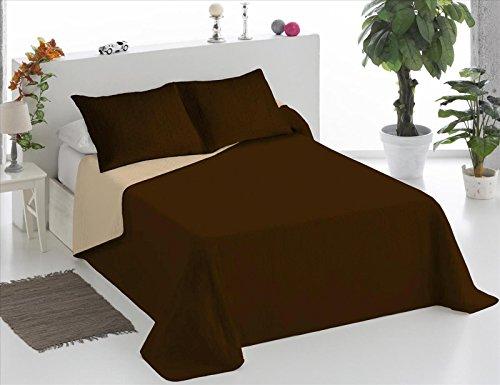 ForenTex - Colcha Boutí, (XQ-CB), Reversible, Bicolor Chocolate Beige, cama 150 cm, 250 x 260 cm, +2 fundas cojín 40 x 60 cm, 220 gr/m2 (relleno ligero 80gr/m2)