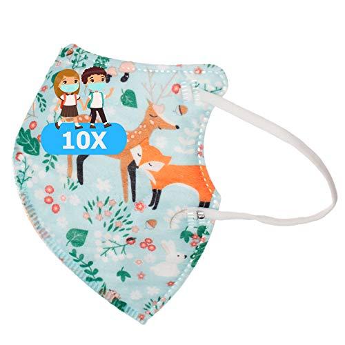 TBOC Mascarillas FFP2 Infantiles [Pack 10 Unidades] Desechables para Niños [Animales del Bosque] Cinco Capas [No Reutilizables] Transpirables Plegables con Pinza Nasal [Certificadas y Homologadas]