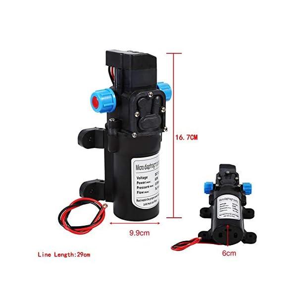 Bomba agua 12V Bomba de Lavado de Autos a Alta Presión 115 psi 5 lpm Bomba de Agua Autocebante de Diafragma para…