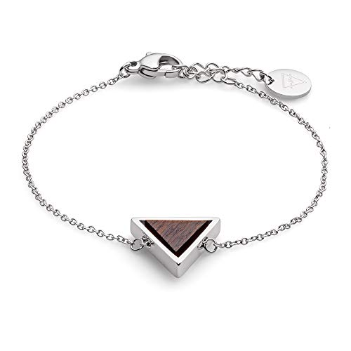 KERBHOLZ Holzschmuck – Geometrics Collection Triangle Bracelet, filigranes Frauen Armband in silber mit Dreieck Anhänger aus Naturholz, größenverstellbar (Armbandlänge 15 + 2,5 cm)