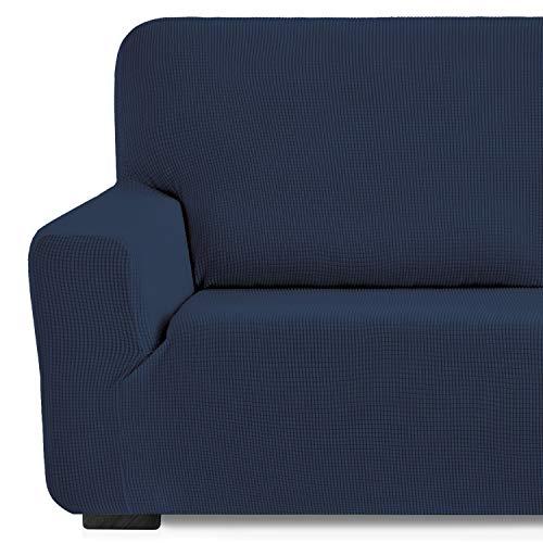 Eiffel Textile Monaco Elastica Adaptable. Funda Sofa Lisa, 94% poliéster 6% Elastano, Azúl, 3 Plazas (180-240 cm)