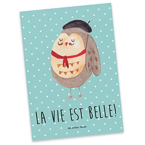 Mr. & Mrs. Panda Ansichtskarte, Geschenkkarte, Postkarte Eule Französisch mit Spruch - Farbe Türkis Pastell