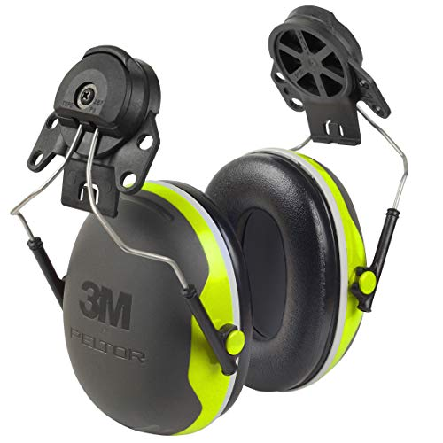 3M Personal Protective Equipment 3M Peltor Ear Muffs, Noise Protection, Hard Hat Attachment, NRR 25 dB, Construction, Manufacturing, Maintenance, Automotive, Woodworking, Heavy Engineering, Mining, X4P3E, Black/Chartreuse