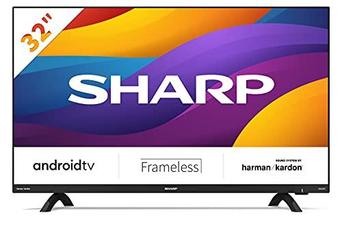 Sharp 32Di6EA - TV Android (9.0) smart 32' HD sin marco - 32 pulgadas - Google Assistant controlado por Voz, Chomecast, Bluetooth, Altavoces Harman/kardon, HDR10, 3xHDMI, 2xUSB, DTS Virtual X