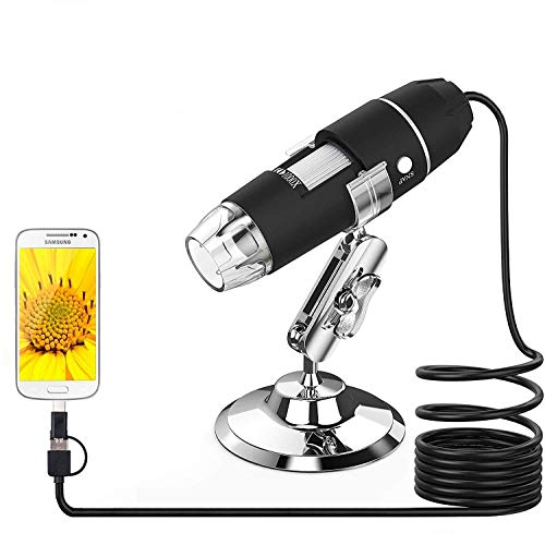 ICQUANZX USB Microscope, Splaks 1000x High Power USB Digital Microscope 3 in 1 PCB Microscope Camera with 8 Led Lights and Microscope Stand for Kids Compatible with Windows, Android and Mac