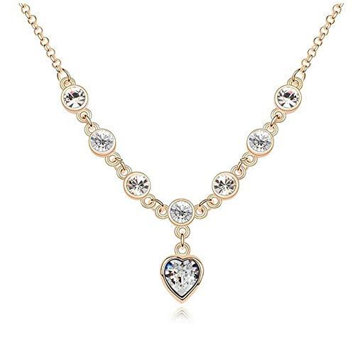 Conjunto de collar de pulsera de la suerte de corazón de melocotón de cristal para mujer, accesorios de joyería coreana, collar, oro, blanco_