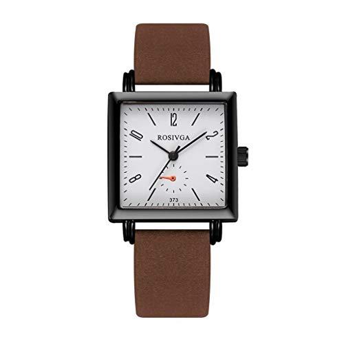 JZDH Relojes para Mujer Moda Relojes Moda Vintage Forma Cuadrada Esfera Casual Cinturón Temperamento Simple Shell Black Shell Hombre Relojes Decorativos Casuales para Niñas Damas (Color : D)