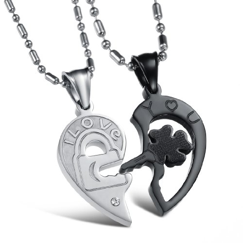 HIS & Hers a Juego Set corazón Puzzle I Love You Colgante necklacecouples amante del regalo para San Valentín