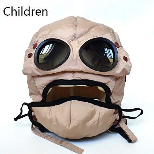 Gorra cálida Invierno Hombres Sombreros de Invierno para Mujeres niños Sombrero con Capucha Impermeable con Gafas Fresco-Children-Beige-One Size
