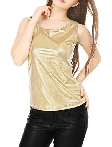 Allegra K Camiseta Sin Mangas Metálica Cuello U Elástico Ajustado Blusa Brillante Top Metalizado para Mujer Oro S