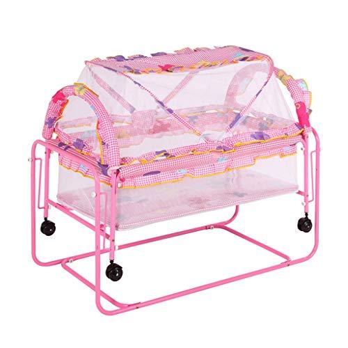 TMY Múltiples Funciones de Metal Cuna Cama Cuna Parque Infantil Cama Cuna Carro Columpio Cama con mosquitero Rodillo Cuna recién Nacido (Color : Pink)