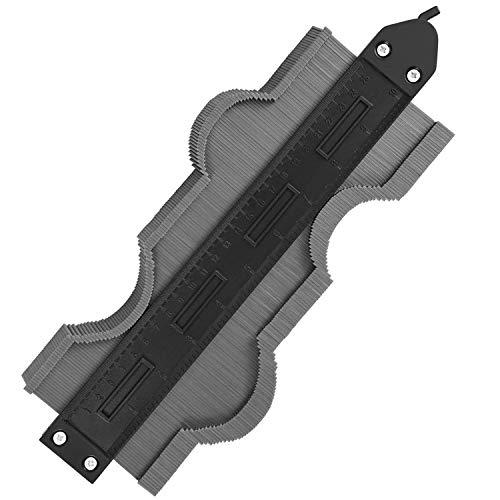 Kohree 型取りゲージ 250mm ストッパー付 目盛付き 曲線定規 測量工具 DIY用 (グレー)