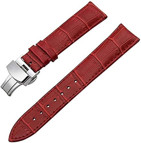 JZDH Banda de Reloj de Cuero Cuchillo de Acero Correa de muñeca 18 mm 19 mm 20 mm 21 mm 22 mm 23mm 24mm Reloj Bandas (Color: Mariposa roja, Tamaño: 21 mm)