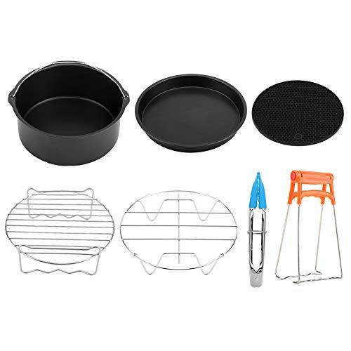 FTVOGUE Kit de Accesorios de la Freidora 8 Pulgadas Pincho Rack Cake Barrel Juego de 7 para Freír la Cocina para Hornear(01)