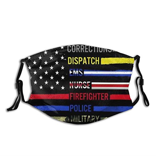 First Responder Flag Graphic Design Thin Blue Line-Face Mask Balaclava, Washable&Reusable With 2 Pcs Filters, For Adult Women Men&Teens