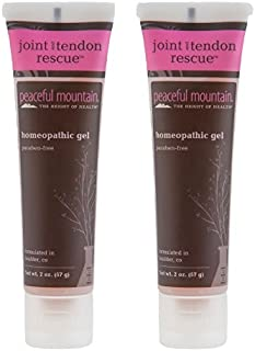 Peacful Mountain Joint and Tendon Rescue Homeopathic Gel (Pack of 2) with Grape Seed Oil, Whey Protein, Soy, Arnica, White Willow, Comfrey Leaf Extract, Devil's Claw Root, Feverfew and Turmeric, 2 oz