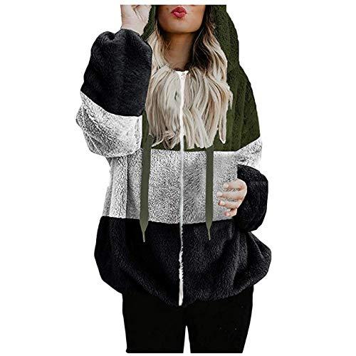 L9WEI Señoras Casual Winter Kapuzenpullover Teddy-Fleece Langarm Pullover Oversize Sweatshirt Warm Hoodie Spleißen Sweatshirt Langarmshirt Loose Oberteile