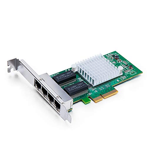 10Gtek® Gigabit PCIE Netzwerkkarte I350-T4 - Intel I350 Chip, Quad RJ45 Ports, 1Gbit PCI Express Ethernet LAN Card, 10/100/1000Mbps NIC für Windows Server, Windows 7/8/ 10, XP und Linux