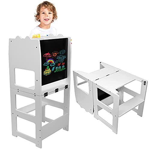 LaSoGi Torre de Aprendizaje niños pequeños Taburete de Madera de Altura Ajustable para Aprendizaje, Torre de Aprendizaje Montessori con Tablero de Dibujo y riel de Seguridad