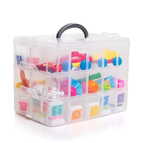 testyu Caja Almacenamiento Plastico 3 Niveles, Caja clasificadora con Ranuras de Compartimentos Ajustables y Asa para Guardar Juguetes Joyas Cuentas
