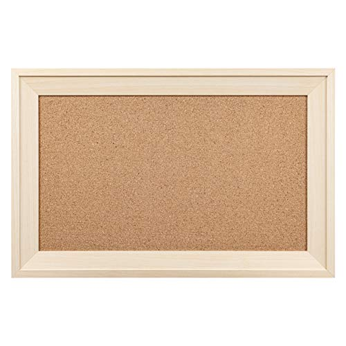 HBlife Cork Board Bulletin Board 11 x 17 Inch with Rectangle Frame Decorative Hanging Pin Board Perfect Decor for Office & Home,Message Board or Vision Board - Natural