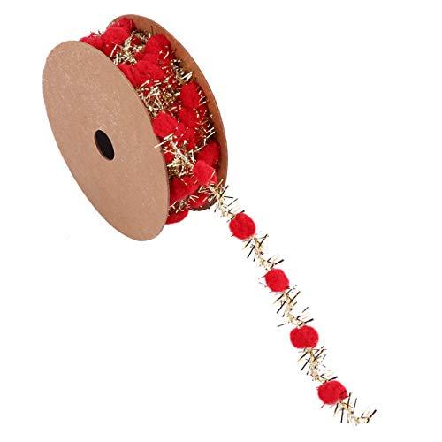 ARTIBETTER 1Pcs 3m Christmas Pom Pom Ball Ribbon Ball Fringe Ribbon for Window Showcase Doll Decoration (Red)