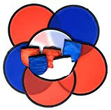Bulk 12 Patriotic Folding Pocket Fans or Foldable Flexible Flying Discs with Storage Bag Assortment - 9.5' Folding Frisbees in Patriotic Red, White and Blue