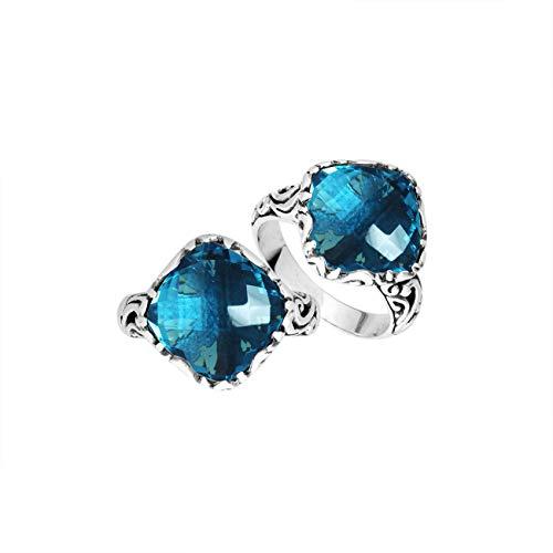 Anillo en forma de cojín de plata de ley con cuarzo azul Londres AR-6256-LBT-7 pulgadas